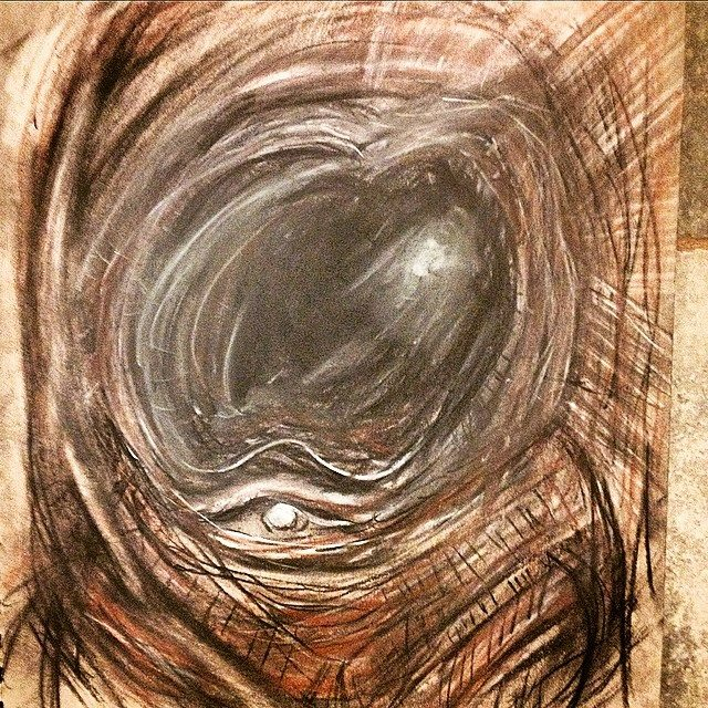 Spaceman - Pastel, Charcoal Colored Pencil abstract sketch art by Russ Palmer Silberman for Punless