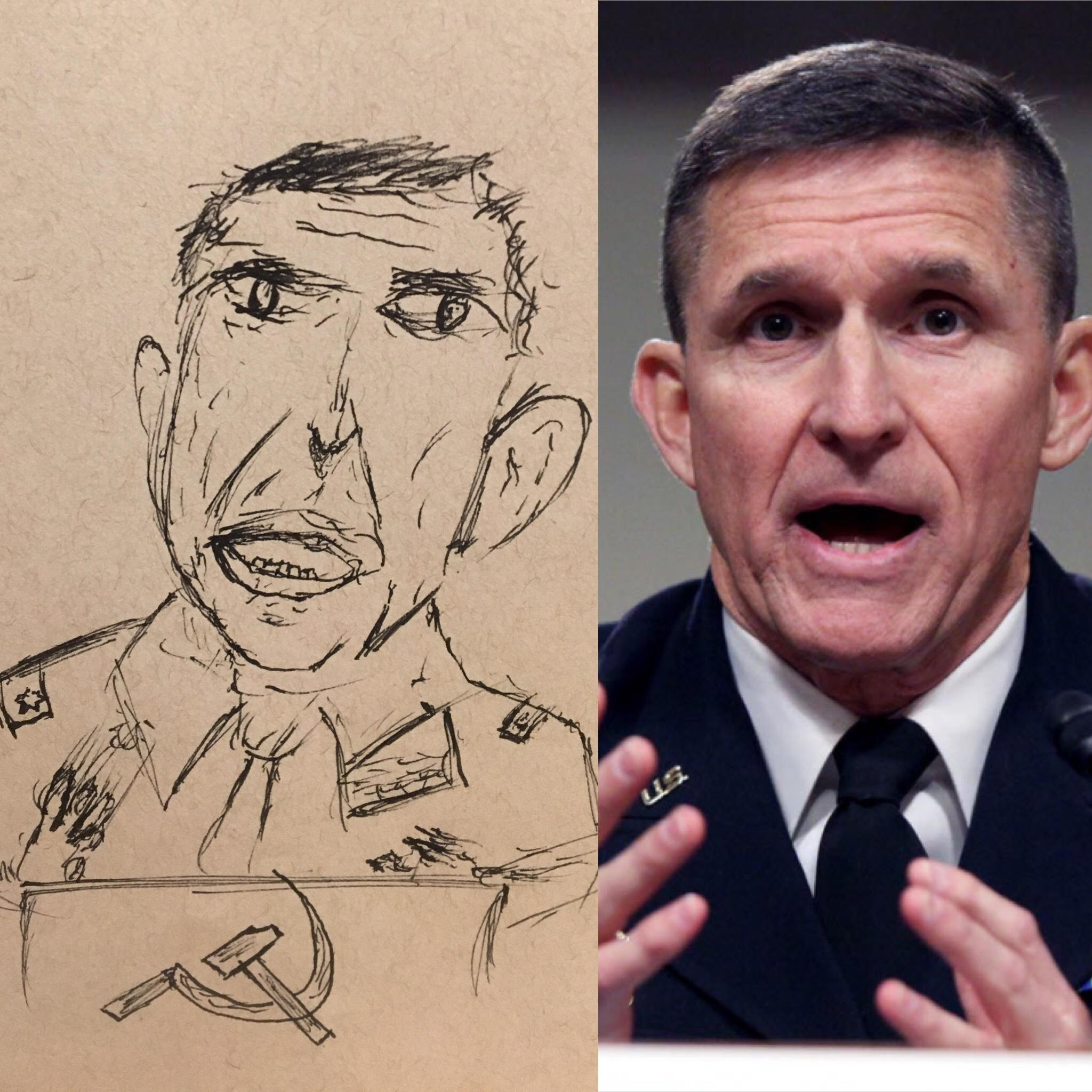 Michael Flynn Ugly Sketch with USSR Hammer and Sickle