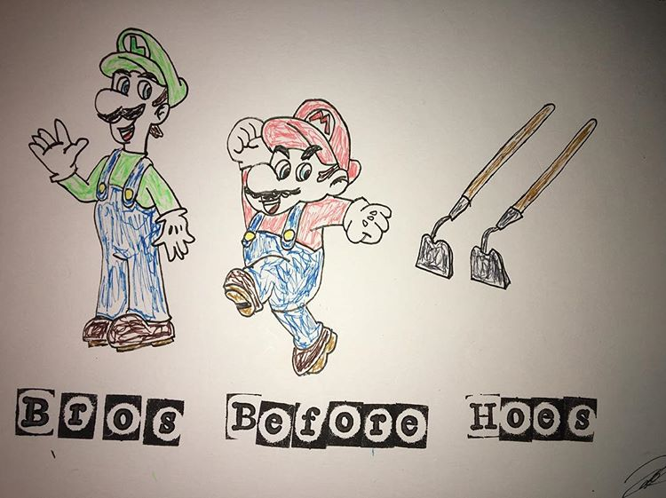 Mario Bros Before Hoes Drawing